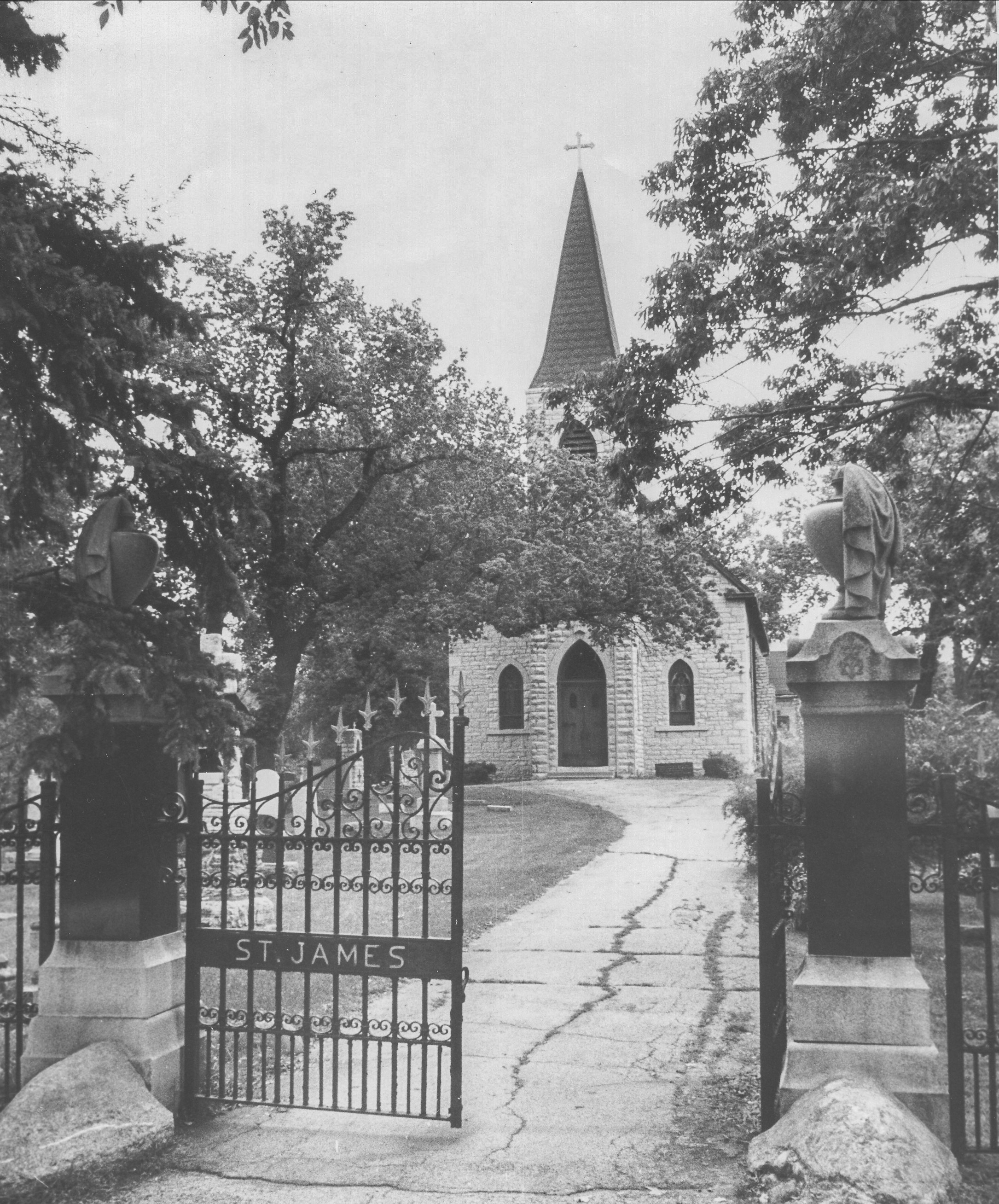 Old picture of gates at St. James Cemetery